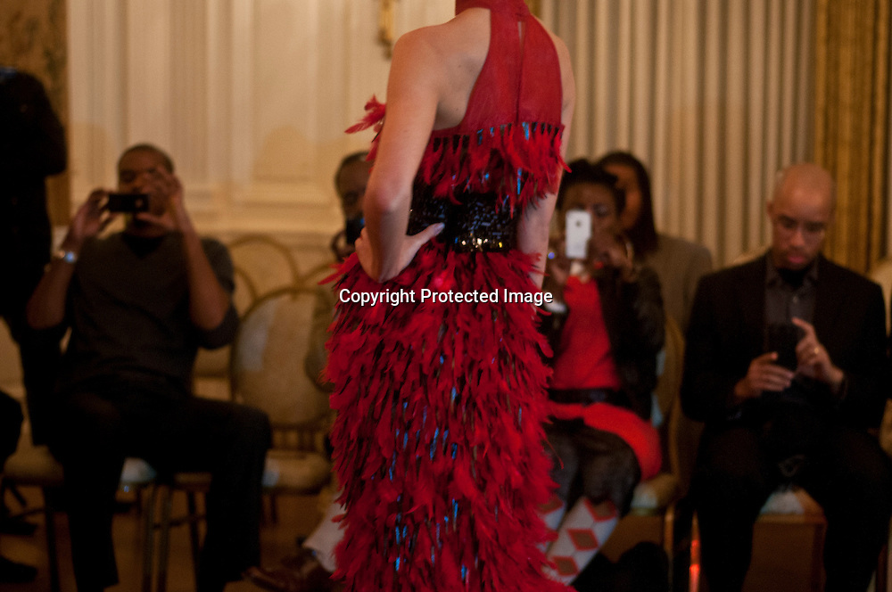 A model walks during the Corjor International Fashion show at The Washington Club.