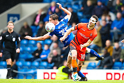 Matthew Bloomfield of Wycombe Wanderers beats Sid Nelson of Chesterfield to the ball - Mandatory by-line: Robbie Stephenson/JMP - 28/04/2018 - FOOTBALL - Proact Stadium - Chesterfield, England - Chesterfield v Wycombe Wanderers - Sky Bet League Two