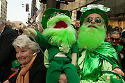 Dennis O'Mann and his leprechaun puppet, from Smithville, Rhode Island, says he frequently attends the New York St. Patrick's Day parade.