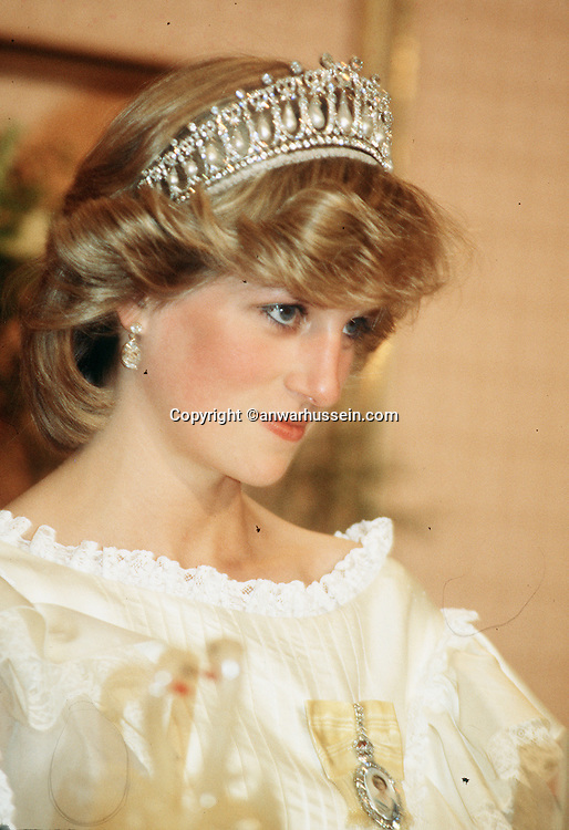 Diana, Princess of Wales, looks thoughtful while wearing tiara in New Zealand during April 1983.<br /><br />&copy; Anwar Hussein