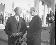 Eamon DeValera meets Jack Lynch at Aras.(E16)..1972..13.12.1972..12.13.1972..13th December 1972..Prior to his signing into law an EEC agreement, President Eamon DeValera met with An Taoiseach,Jack Lynch at Áras an Uachtaráin to discuss the signing. They are pictured walking in the grounds at the front of Áras an Uachtaráin