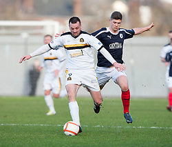 Dumbarton's Garry Fleming and Falkirk's Stewart Murdoch..half time : Dumbarton v Falkirk, 23/2/2013..©Michael Schofield.
