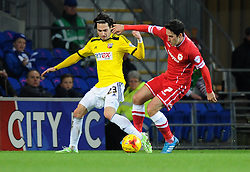 Brentford's Ramallo Jota and Cardiff City's Peter Whittingham compete for the ball - Photo mandatory by-line: Paul Knight/JMP - Mobile: 07966 386802 - 20/12/2014 - SPORT - Football - Cardiff - Cardiff City Stadium - Cardiff City v Brentford - Sky Bet Championship