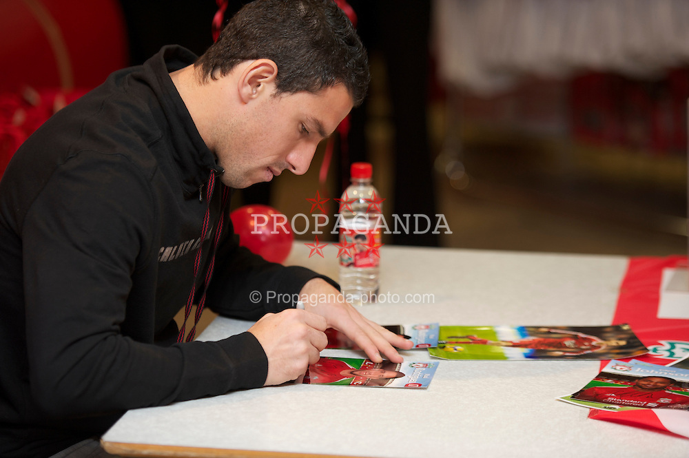 LIVERPOOL, ENGLAND - Friday, November 26, 2010: Liverpool's Maximiliano Ruben Maxi Rodriguez during a signing session for supporters at the Liverpool FC Club Shop at Anfield. (Photo by David Rawcliffe/Propaganda)
