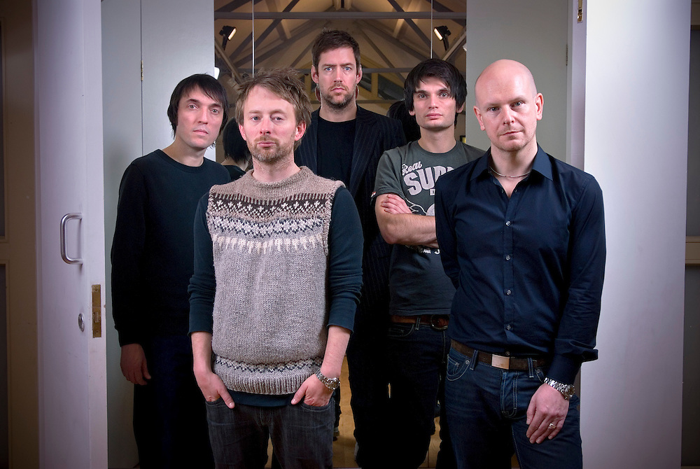 UK. Oxford based band Radiohead photographed in the attic of the Oxford Playhouse theatre..From left to right: Colin Greenwood, Thom Yorke, Ed O'Brian, Jonny Greenwood and Phil Selway.