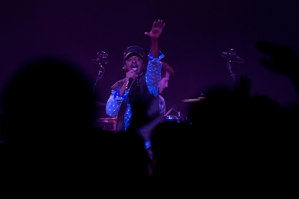 K'Naan performs at Bates College in Lewiston, Maine on December 1, 2012.
