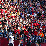 03 September 2016: The San Diego State Aztecs football team open's up the season at home against the University of New Hampshire Wildcats. Fans celebrate after San Diego State scores in the first quarter. The Aztecs lead 21-0 at halftime.