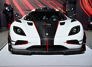 """The Koenigsegg One:1, the world's first megacar, costs millions of dollars and is on display at the New York International Auto Show 2016, at the Jacob Javits Center. The white and black with red trim """"one to one"""" has one horsepower per kilo, so the engine has one megawatt of power, and it's one of the fastest cars in the world. There are 7 vehicles of this model in existence, and the one shown is a client's car. This was Press Preview Day one of NYIAS, and the Trade Show will be open to the public for ten days, March 25th through April 3rd."""