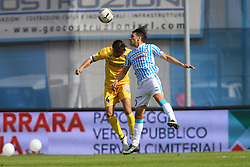 "Foto Filippo Rubin<br /> 26/03/2017 Ferrara (Italia)<br /> Sport Calcio<br /> Spal vs Frosinone - Campionato di calcio Serie B ConTe.it 2016/2017 - Stadio ""Paolo Mazza""<br /> Nella foto: SERGIO FLOCCARI CONTRO ADRIANO RUSSO<br /> <br /> Photo Filippo Rubin<br /> March 26, 2017 Ferrara (Italy)<br /> Sport Soccer<br /> Spal vs Frosinone - Italian Football Championship League B ConTe.it 2016/2017 - ""Paolo Mazza"" Stadium <br /> In the pic: SERGIO FLOCCARI AND ADRIANO RUSSO"