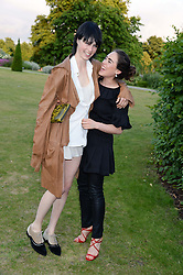 Left to right, EDIE CAMPBELL and TALLULAH HARLECH at the Fashion Rules Exhibition Opening at Kensington Palace, London W8 on 4th July 2013.