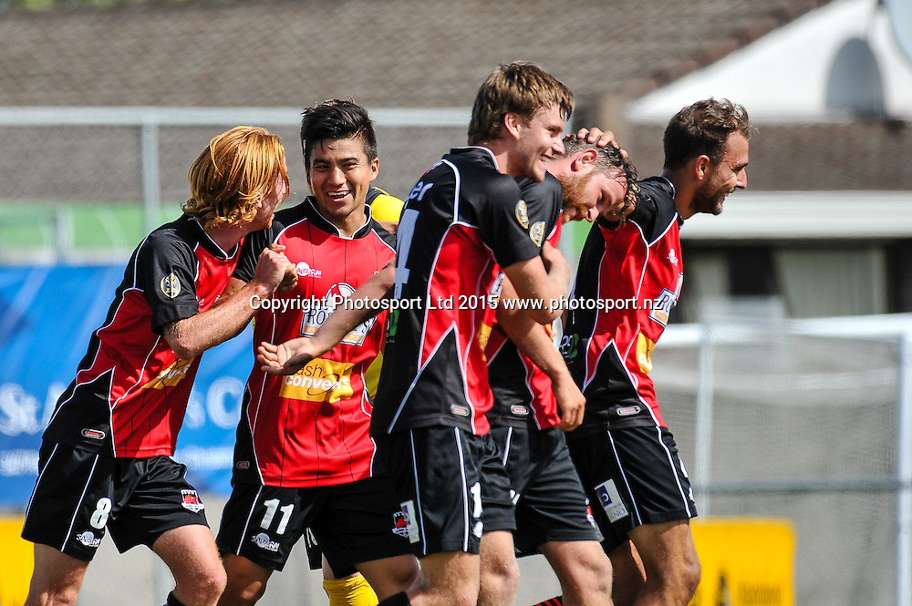 Canterbury playeers celebrates Gary Ogilvie winning goal during the ASB Premiership Football match, Canterbury V Southern United, at English Park, Christchurch. 28th Febuary 2016. Copyright Photo: John Davidson / www.photosport.nz