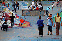 Children playing in urban skate park