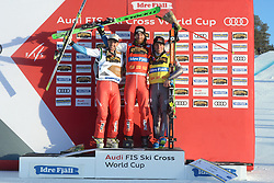 13.01.2018, Idre Fjall, Idre, SWE, FIS Weltcup Ski Cross, Idre Fjall, im Bild Marc Bischofberger, Alex Fiva and Jeran Frederic Chaupis // during the FIS Ski Cross World Cup at the Idre Fjall in Idre, Sweden on 2018/01/13. EXPA Pictures © 2018, PhotoCredit: EXPA/ Nisse Schmidt<br /> <br /> *****ATTENTION - OUT of SWE*****
