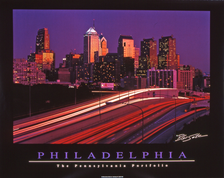 "Poster of the Philadelphia skyline at sunset with I-76. Black border, with ""Philadelphia"" and ""The Pennsylvania Portfolio"" written at the bottom"