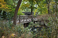 A rustic bridge at The Pool in Central Park, New York City.