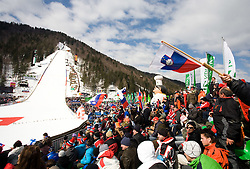 Panoramic view at Flying Hill Team in 3rd day of 32nd World Cup Competition of FIS World Cup Ski Jumping Final in Planica, Slovenia, on March 21, 2009. (Photo by Vid Ponikvar / Sportida)
