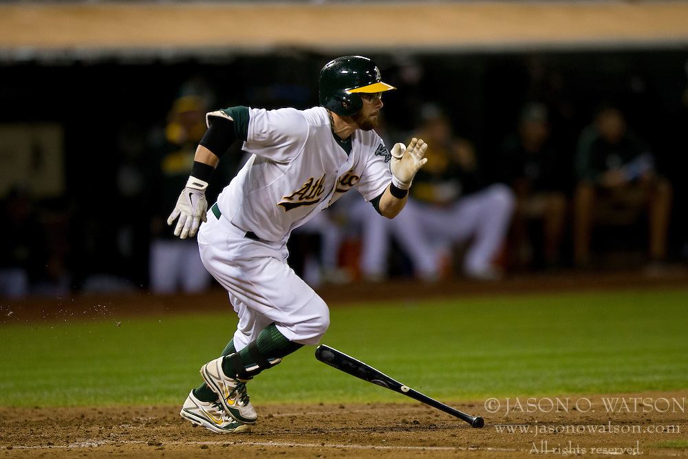 OAKLAND, CA - SEPTEMBER 23:  Eric Sogard #28 of the Oakland Athletics at bat against the Los Angeles Angels of Anaheim during the fifth inning at O.co Coliseum on September 23, 2014 in Oakland, California. The Los Angeles Angels of Anaheim defeated the Oakland Athletics 2-0.  (Photo by Jason O. Watson/Getty Images) *** Local Caption *** Eric Sogard