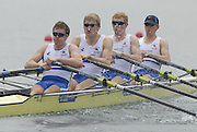 Beijing, CHINA. GBR. JM4X, Bow, Jon PRESTON, Andrew FORD, Phil CLAPP and Chriss CLARK, move away from the start during their semi final, at  the  2007. FISA Junior World Rowing Championships,  Shunyi Water Sports Complex. 10/08/2007 [Photo, Peter Spurrier/Intersport-images]..... , Rowing Course, Shun Yi Water Complex, Beijing, CHINA,