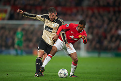 22.11.2011, Old Trafford, Manchester, ENG, UEFA CL, Gruppe C, Manchester United (ENG) vs Benfica Lissabon (POR), im Bild Manchester United's Nani in action against SL Benfica's Javi Garcia during the football match of UEFA Champions league, group C, between Manchester United (ENG) vs Benfica Lissabon (POR) at Old trafford, Manchester, United Kingdom on 22/11/2011. EXPA Pictures © 2011, PhotoCredit: EXPA/ Sportida/ David Rawcliff..***** ATTENTION - OUT OF ENG, GBR, UK *****