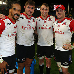 Courtnall Skosan with Malcolm Marx Ruan Ackermann and Jaco Kriel (captain) of the Emirates Lions during the Vodacom Super Rugby match between the Cell C Sharks and the Emirates Lions the at Growthpoint Kings Park in Durban, South Africa. 15th July 2017(Photo by Steve Haag)