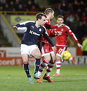 Dundee&rsquo;s Paul McGowan battles for the ball with Aberdeen&rsquo;s Niall McGinn - Aberdeen v Dundee, Ladbrokes Premiership at Pittodrie<br /> <br />  - &copy; David Young - www.davidyoungphoto.co.uk - email: davidyoungphoto@gmail.com