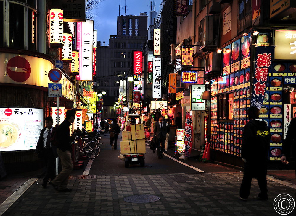 A back street in Kabuki Cho in Tokyo's Shinjuku. Thousands of restaurants for your choosing.