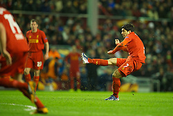 21.02.2013, Anfield, Liverpool, ENG, UEFA Europa League, FC Liverpool vs Zenit St. Petersburg, im Bild Liverpool's Luis Alberto Suarez Diaz scores the third goal against FC Zenit St Petersburg during UEFA Europa League match between Liverpool FC and Zenit St. Petersburg at Anfield, Liverpool, Great Britain on 2013/02/21. EXPA Pictures © 2013, PhotoCredit: EXPA/ Propagandaphoto/ David Rawcliffe..***** ATTENTION - OUT OF ENG, GBR, UK *****