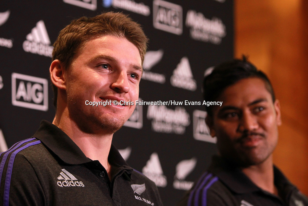 20.11.14 - New Zealand All Blacks Press Conference - Beauden Barrett and Julian Savea talk to the press.<br /> <br /> &copy; Huw Evans Picture Agency