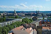 Haupstraße, Neustadt, Elbe und Altstadt im Hintergrund, Dresden, Sachsen, Deutschland.|.main street, Neustadt, old town in back ground, Dresden, Germany