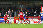 Shamir Fenelon of Crawley Town shoots at goal early on during the Sky Bet League 2 match between Crawley Town and Stevenage at the Checkatrade.com Stadium, Crawley, England on 26 December 2015. Photo by Phil Duncan.