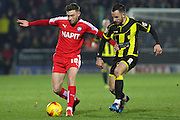 Chesterfield FC midfielder Jay O'Shea wins take the ball away from Burton Albion midfielder Robbie Weir during the Sky Bet League 1 match between Burton Albion and Chesterfield at the Pirelli Stadium, Burton upon Trent, England on 12 February 2016. Photo by Aaron Lupton.