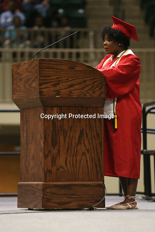Shannon High School salutatorian Aaliyah Lee delivers her salutatory speech to the crowd gathered for Shannon's graduation ceremony Saturday evening at the BancorpSouth Arena.