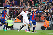 LIONEL MESSI of FC Barcelona duels for the ball with NICOLAS PAREJA of Sevilla FC during the Spanish championship Liga football match between FC Barcelona and Sevilla FC on April 5, 2017 at Camp Nou stadium in Barcelona, Spain. <br /> Photo Manuel Blondeau / AOP Press / ProSportsImages / DPPI
