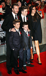 David and Victoria Beckham and children arriving at the The Class of 92 premiere in London, Sunday, 1st December 2013. <br /> Picture by Stephen Lock / i-Images