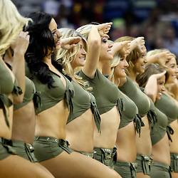 April 6, 2011; New Orleans, LA, USA; New Orleans Hornets Honeybees dancers perform on the court following the first quarter of a game against the Houston Rockets at the New Orleans Arena.   Mandatory Credit: Derick E. Hingle-US PRESSWIRE
