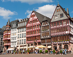 Romer Square with historic timbered houses and restaurants in old town of Frankfurt am Main Germany