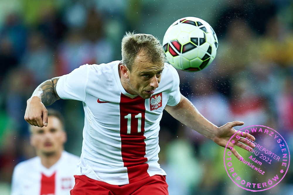 Kamil Grosicki from Poland shoots on the goal during international friendly soccer match between Poland and Greece at PGE Arena Stadium on June 16, 2015 in Gdansk, Poland.<br /> Poland, Gdansk, June 16, 2015<br /> <br /> Picture also available in RAW (NEF) or TIFF format on special request.<br /> <br /> For editorial use only. Any commercial or promotional use requires permission.<br /> <br /> Adam Nurkiewicz declares that he has no rights to the image of people at the photographs of his authorship.<br /> <br /> Mandatory credit:<br /> Photo by &copy; Adam Nurkiewicz / Mediasport