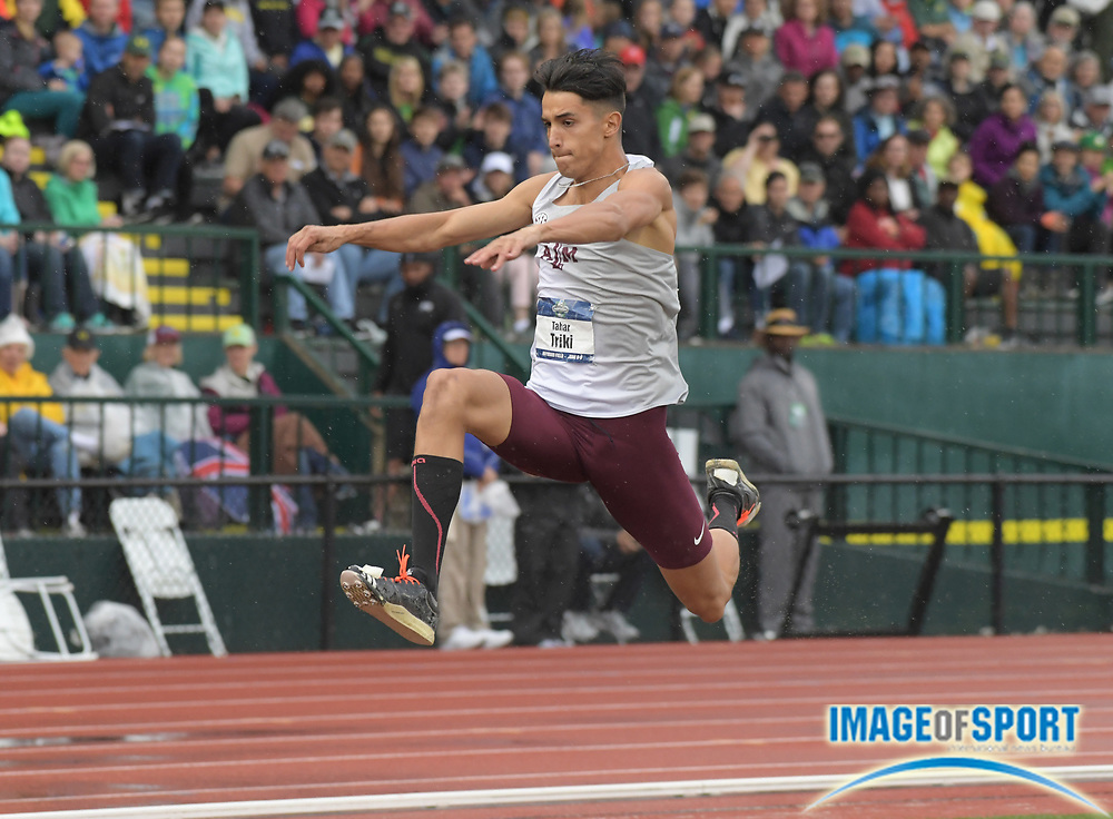 Jun 8, 2018; Eugene, OR, USA; Tahar Triki of Texas A&M wins the triple jump at 55-1 (16.79m) during the NCAA Track and Field championships at Hayward Field.