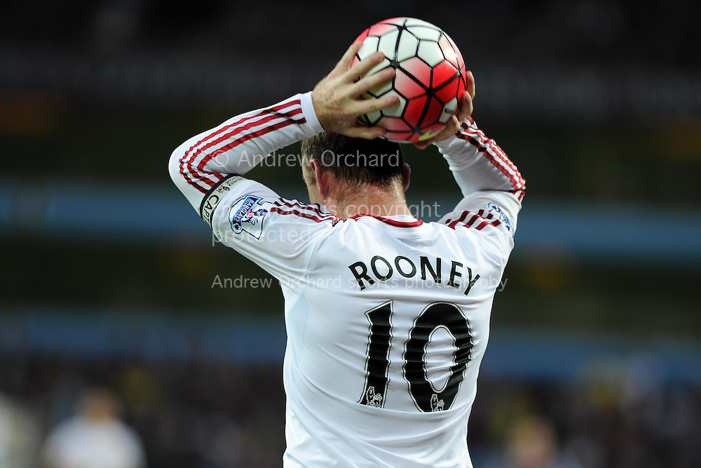 Wayne Rooney of Manchester Utd prepares to take in throw in.  Barclays Premier League match, Aston Villa v Manchester Utd at Villa Park in Birmingham, Midlands on Friday 14th August  2015.<br /> pic by Andrew Orchard, Andrew Orchard sports photography.