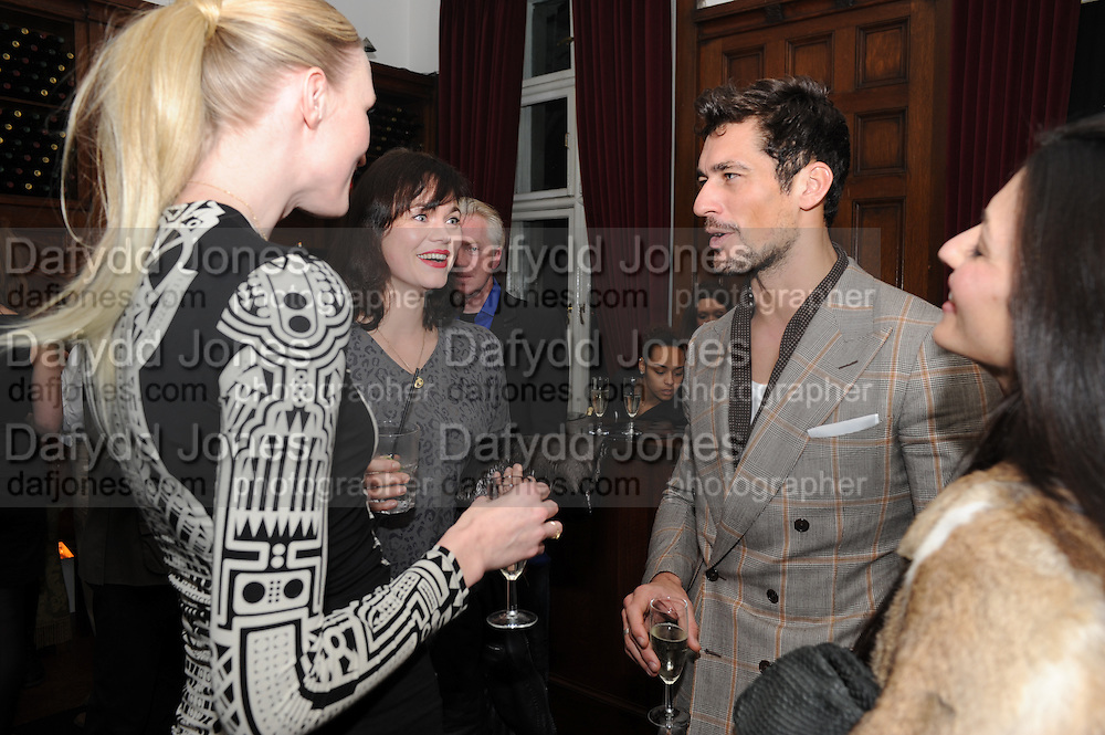 JADE PARFITT; JASMINE GUINNESS; DAVID GANDY; , London College of Fashion hosts party to celebrate the opening of Carmen: A Life in Fashion with guest of honour Carmen Dell'Orefice. Il Bottachio, Hyde Park Corner. London. 16 November 2011. <br /> <br />  , -DO NOT ARCHIVE-© Copyright Photograph by Dafydd Jones. 248 Clapham Rd. London SW9 0PZ. Tel 0207 820 0771. www.dafjones.com.