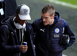 12 February 2017 - Premier League - Swansea City v Leicester City - Jamie Vardy of Leicester City chats to Demari Grey - Photo: Paul Roberts / Offside