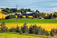 Norway, Inderøy. View from Øyna to Sakshaug Church.
