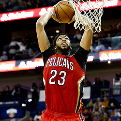 Dec 21, 2016; New Orleans, LA, USA;  New Orleans Pelicans forward Anthony Davis (23) dunks against the Oklahoma City Thunder during the second half of a game at the Smoothie King Center. The Thunder defeated the Pelicans 121-110. Mandatory Credit: Derick E. Hingle-USA TODAY Sports
