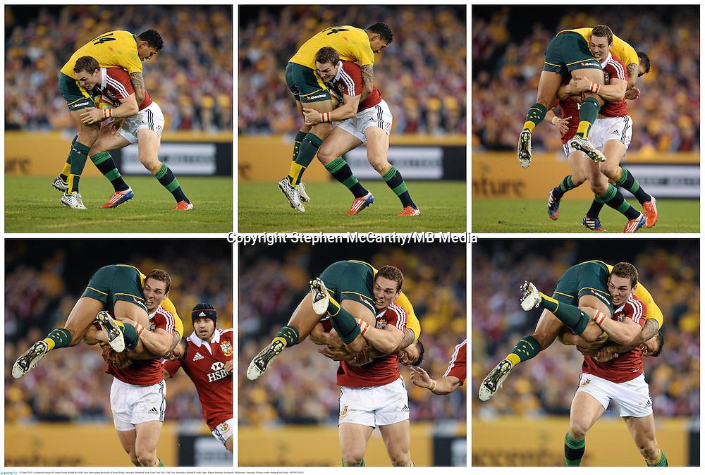 29 June 2013; A composite image of George North, British & Irish Lions, intercepting the tackle of Israel Folau, Australia. British & Irish Lions Tour 2013, 2nd Test, Australia v British & Irish Lions. Ethiad Stadium, Docklands, Melbourne, Australia. Picture credit: Stephen McCarthy / SPORTSFILE