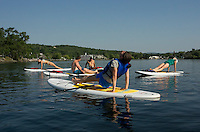 SUP Yoga with EKAL Meredith Bay.   (Karen Bobotas/for the Laconia Daily Sun)