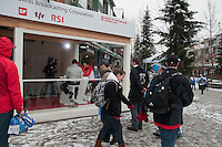 Swiss athletes Didier Defago and Dario Cologna are interviewed by Swiss Media at the House of Switzerland during the 2010 Olympic Winter Games in Whistler, BC Canada.