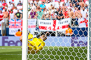 England goalkeeper Jordan Pickford (Everton) saves the final penalty to win the third place position for England  during the UEFA Nations League 3rd place play-off match between Switzerland and England at Estadio D. Afonso Henriques, Guimaraes, Portugal on 9 June 2019.