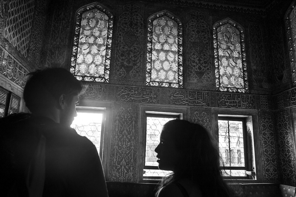 Visitors glazing at the tiles at one of the rooms in Topkapi Palace, in Istanbul.