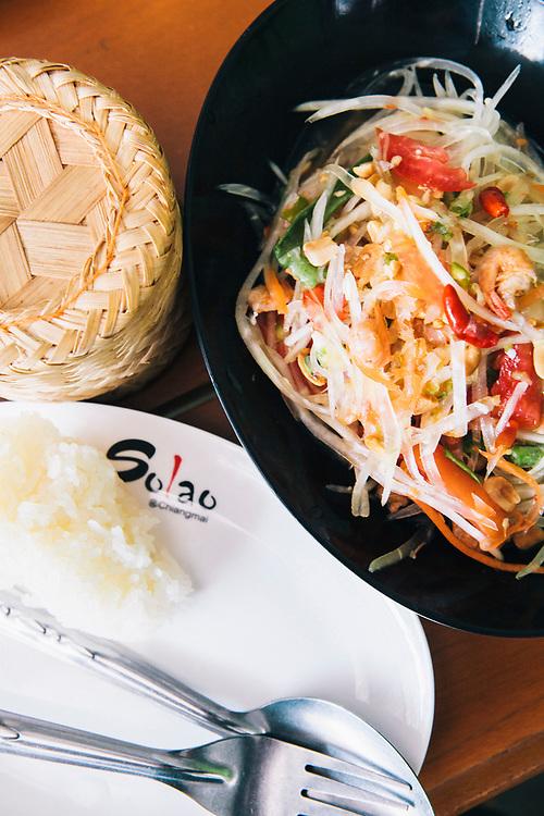 Papaya salad at Som Tum So Lao, Chiang Mai