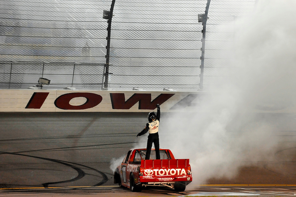 13-14 July, 2012, Newton, Iowa USA.Timothy Peters celebrates win after a burnout.(c)2012, Scott R LePage .LAT Photo USA